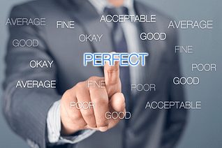 """Person fixated and selecting """"perfect"""" amongst a list of other alternative words."""